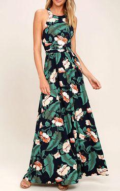 Temptation Island navy Blue Floral Print Maxi Dress via @bestmaxidress