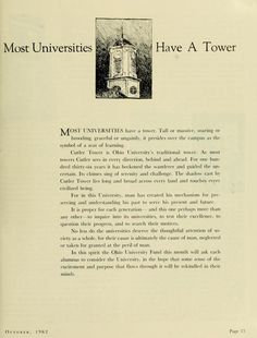 "The Ohio Alumnus, October 1962. ""Most Universities Have a Tower."" ""Cutler Tower is Ohio University's traditional tower."" :: Ohio University Archives"