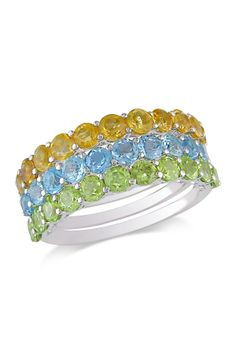 Soooo pretty! with good vibes too -  -  - Sterling Silver Round Citrine, Sky Blue Topaz & Peridot Ring Set