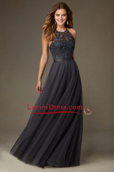 2016 Tulle Scoop Open Back Bridesmaid Dresses With Embroidery And Beads Floor Length US$ 149.99 LCP3GB4YDY - LuciesDress.com for mobile