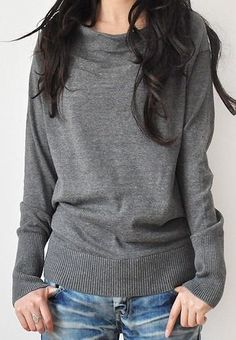 heather grey boat neck sweater