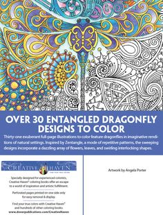 Creative Haven Entangled Dragonfly Designs By Dover Publications
