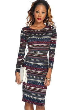 Look sizzling hot in this sexy printed dress! Pair with your favorite AMI heels and pretty accessories for a complete look! Youll have all eyes on you wherever you go! This must have dress features a thick, lightly textured fabric, beautiful complimenting colors in an intricate printed design, long sleeves, scoop neck collar, cut out back, perfectly stitched detailing, and complete with a sexy curve hugging figure flattering fit. Polyester.