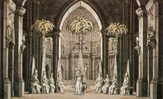A group of Esoteric Priests of the Sun sing very, very slowly (on most recordings) about Isis and Osiris, numerous times. From Joseph Quaglio's 1793 production.  Stage design for The Magic Flute.
