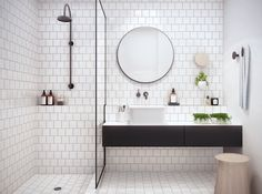 Curbless Shower - Subway Tile - Bathroom Design - Black White - Mosaic Pattern
