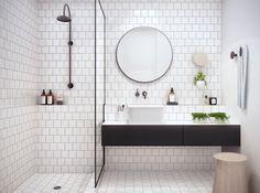 Curbless Shower - Subway Tile - Bathroom Design - Black White - Mosaic Pattern