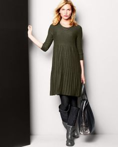 Eileen Fisher Washable Wool Scoop-Neck Dress