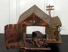 Vintage Copper Musical Box Garage Car Rustic Decor