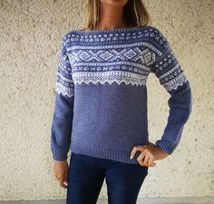 Marius genser (S/M) Denim Knitting Ideas, Crotchet, Knits, Pullover, Denim, Sweaters, Fashion, Tricot, Hand Crafts