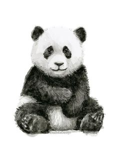 baby pandas Baby Panda Watercolor Panda Art Print Panda Nursery Wall Art Panda Decor Baby Animals Jungle Safari Animals Black and White Art Print Niedlicher Panda, Panda Art, Panda Nursery, Animal Nursery, Lion Nursery, Watercolor Animals, Watercolor Art, Panda Kindergarten, Image Panda