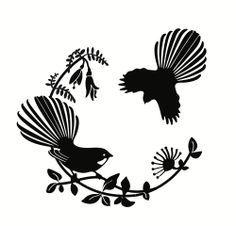 I like the fantail on the branch - without the one flying in Maori Designs, Tattoo Designs, Tattoo Ideas, Bird Stencil, Damask Stencil, New Zealand Art, Nz Art, Metal Tattoo, Stencil Patterns