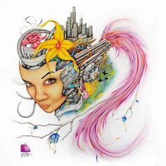 Serrano - mixed media art Medium Art, Mixed Media Art, Princess Zelda, Traditional, Gallery, Artist, Anime, Fictional Characters, Roof Rack