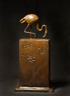 Bronze Wild Animals and Wild Life sculpture by artist Anthony Smith titled: 'Flamingo (small wading flamingo bronze sculpture statuette statue)'