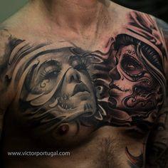 chest tattoo by Victor Portugal | tattoo artist – Krakow, Poland