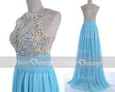 Buy the cheapest fashion @ www.kpopcity.net!! Blue Prom Dresses 2014 Prom Gown Straps with Open by MissDressesy