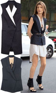 Long black vest over white dress cinched with belt | Outfit | Style | Look | Black and White | Sleeveless | Jacket | Blazer |