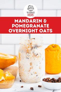 Mandarin and Pomegranate Overnight Oats Pomegranate Recipes, Citrus Recipes, Orange Recipes, Fruit Recipes, Easy Healthy Recipes, Brunch Recipes, Pomegranate Seeds, Vegetarian Recipes, Healthy Breakfast Dishes