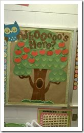I love this sweet blue owl board-- I would laminate the apple with the student's photo & name.  The student can pick their apple and place it on the tree when he/she enters the classroom in the mornings.