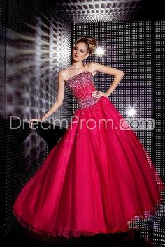 Pretty Strapless Ball Gown Floor-Length Quinceanera Dresses