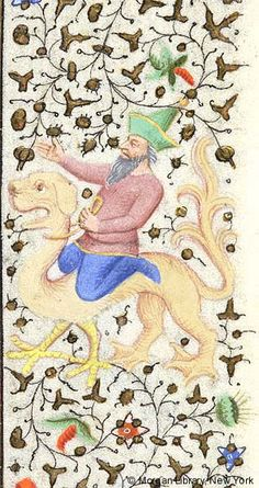 Man, wearing pointed hat, astride hybrid animal, raising right arm and holding cord around neck of hybrid with left hand | Book of Hours | France, Paris | ca. 1425-1430 | The Morgan Library & Museum