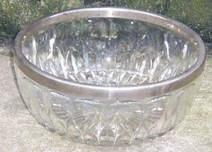 Vintage Glass Serving Bowl with Silver Edge