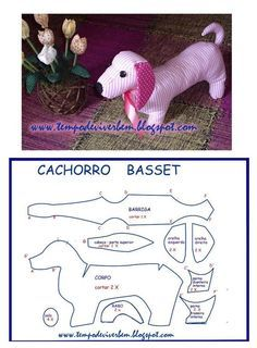 Sewing Stuffed Animals Patterns says basset, but could be dachshund as well I believe. Dog Crafts, Animal Crafts, Sewing Crafts, Sewing Projects, Sewing Stuffed Animals, Stuffed Animal Patterns, Diy Y Manualidades, Animal Sewing Patterns, Fabric Animals