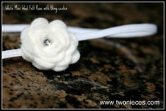 Two Nieces White Mini Wool Felt Rose on Skinny by , $8.00