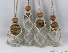 Hemp Wrapped Glass Bottle Necklaces by ArtByLThompsonYou can find Bottle necklace and more on our website.Hemp Wrapped Glass Bottle Necklaces by ArtByLThompson Bottle Necklace, Bottle Jewelry, Hemp Jewelry, Bottle Charms, Macrame Jewelry, Diy Necklace, Stone Necklace, Wire Jewelry, Jewelery
