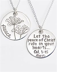 Sterling Silver Peace Colossians 3:15 Necklace