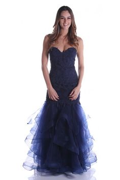 Get ready for jaws to drop when you wear this dramatic dress by Nox Anabel A054. Gowns For Rent, New Designer Dresses, Dress Rental, Strapless Dress Formal, Formal Dresses, Pageant Gowns, Mermaid Gown, Tulle, Drop