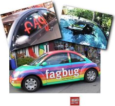 "It's so powerful when people OWN WHO THEY ARE. Erin Davies car was vandalized repeatedly, so rather than hide, she painted the car with ""Fagbug,"" toured the U.S. and made a documentary.  You can watch the doc free on Hulu or stream on Netflix. Here's the link to the trailer: http://www.youtube.com/watch?feature=player_embedded=ivst05_e7GU  The website is www.facebug.com   Thank you to Anti-Gay Bullying Awareness for pointing this out!"