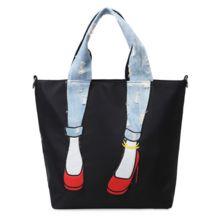 Diversão à prova d' água oxford bolsa das mulheres com jeans rasgados e croos corpo tote handle criativo bloco de cores casuais de salto alto saco alishoppbrasil