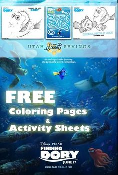 Utah Sweet Savings FREE Finding Dory Coloring Pages Activity Sheets