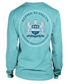 Alpha Xi Delta long sleeved shirt with crest design from Metropolis Graphics