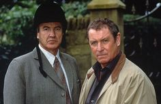 "Larry Lamb as ex-con Melvyn Stockard and John Nettles as Detective Chief Inspector Tom Barnaby in MIDSOMER MURDERS ""Who Killed Cock Robin."""