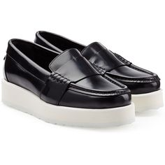 Pierre Hardy Patent Leather Platform Loafers (€215) ❤ liked on Polyvore featuring shoes, loafers, black, black patent leather loafers, platform loafers, patent leather shoes, anchor shoes and black patent loafers
