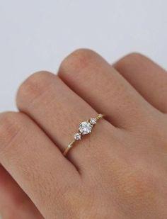 Vintage Gold Engagement Rings, Dream Engagement Rings, Engagement Ring Settings, Minimalistic Engagement Ring, 3 Diamond Engagement Rings, Engagement Ideas, Engagement Photos, Unique Promise Rings, Unique Rings