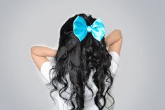 hair, bow, black hair, turquoise, cute, curls, girl
