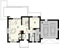 IDEAL 2G - projekt taniego domu z kosztorysem i z garażem dwustanowiskowym. Studio Krajobrazy. Floor Plans, Floor Plan Drawing