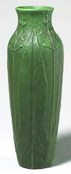 """Wheatley Pottery (1903-1910) - Leaves & Berries Vase. Carved & Matte Glazed Pottery. Circa 1903-1910. 14""""."""