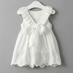 The Cynthia Dress is an adorable white toddler dress featuring embroidered eyelet, ruffles and bows! Kids Outfits Girls, Girl Outfits, Girls Dresses, Flower Girl Dresses, Summer Dresses, Tutu Dresses, Princess Dresses, Dress Girl, Daisy Dress