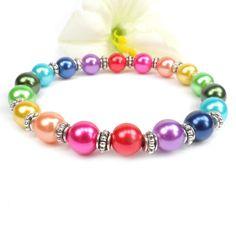 Rainbow bracelet, colorful jewelry, stretch beaded bracelet, LGBT bracelet  ----  Regenbogen-Armband, bunten Schmuck, Stretch Perlenarmband, LGBT-Armband