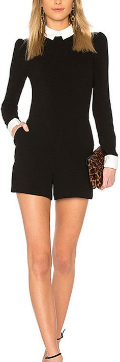 RACHEL ZOE Natalie Romper in Black.  A couture guru and vintage enthusiast, Zoes line takes from 60s and 70s London/Paris fashion with re-energized modern twists. Work casual, clothes for work, womens fashion, rompers, rompers for women         #womensfashion #ad #cuteoutfits #springoutfits #summeroutfits