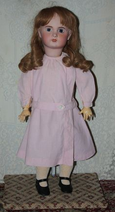 Antique Pink Dress for French or German Bisque Dolls 1910 from camelot-pc-rl on Ruby Lane