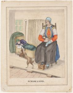 Schokland. streekdracht 1842-1864 kunstenaar: Haasloop Werner, Heinrich Gottfried #Schokland
