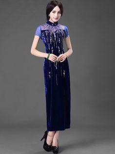 Sequins Velour Ankle-Length Qipao / Cheongsam Dress