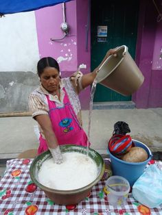 Tejat, the traditional cool, chocolate drink of Oaxaca.