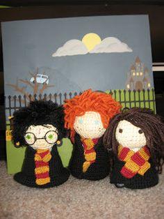 FREE crochet pattern Harry potter dolls Ron Hermione Harry