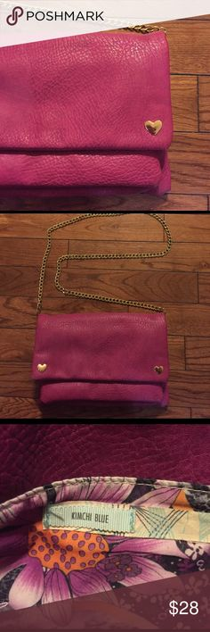 • KIMCHI BLUE • magenta cross body Kimchi Blue magenta crossbody bag with gold detail. Worn once. Bought new from Urban Outfitters for $50. Excellent condition! 3 pockets! Bundle & save 15%! 💕 Kimchi Blue Bags Crossbody Bags