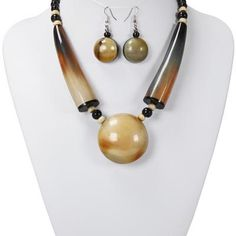 Horn Statment Necklace Set-NK-6743